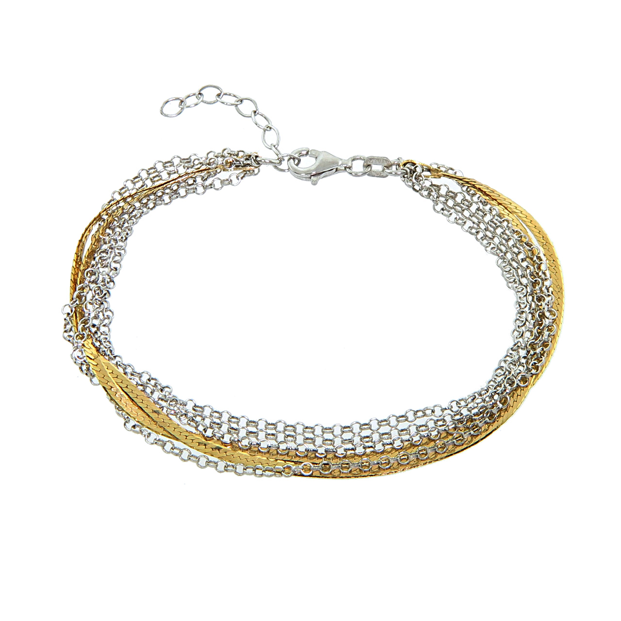 Italian Two Tone Gold Plated Sterling Silver 5 Strand Bracelet