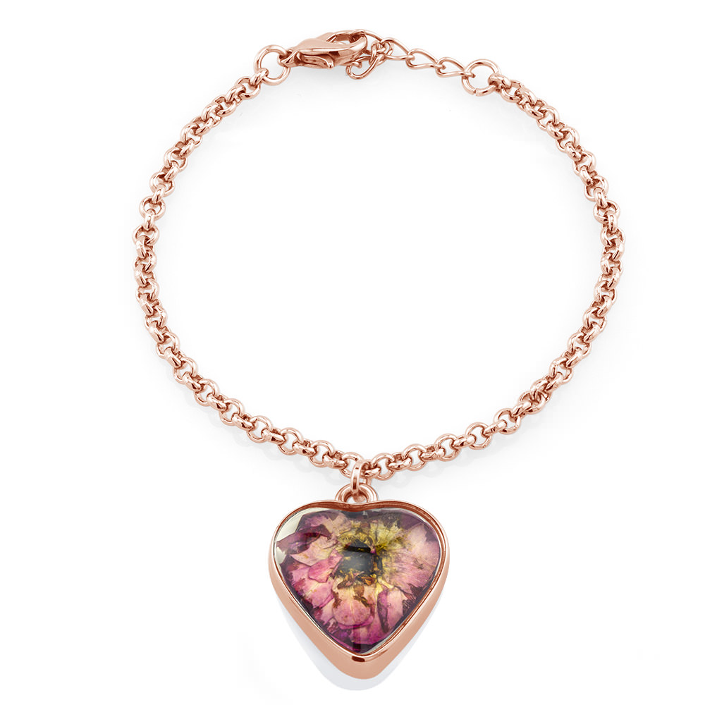 Real Dried Rose Heart Circle Charm Bracelet
