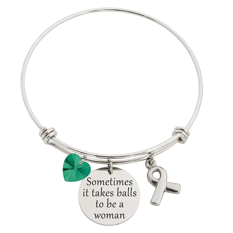 Sometimes It Takes Balls To Be A Woman Steel Bracelet With Swarovski C