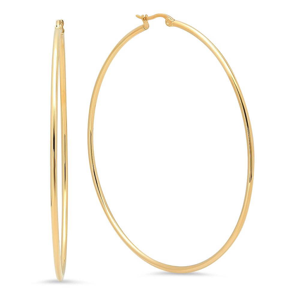 Gold Plated Hoop Earrings 75mm