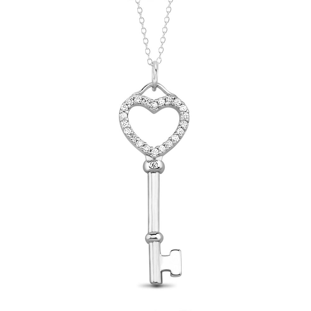 Sterling Silver Cubic Zirocnia Heart Key Necklace