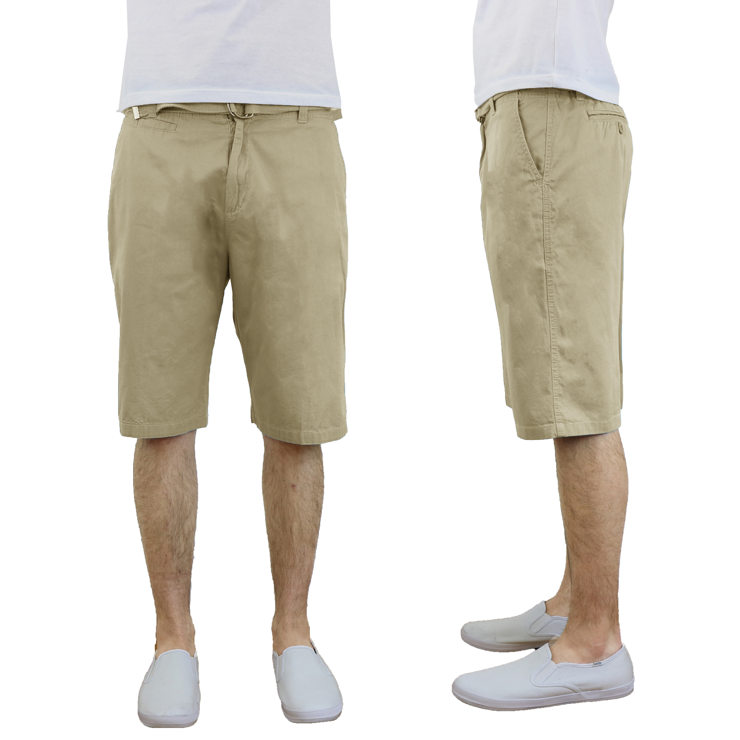 Men's Harvic 100% Cotton Belted Flat Front Chino Shorts