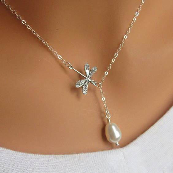 Sterling Silver Dragonfly  amp  Pearl Lariat Necklace