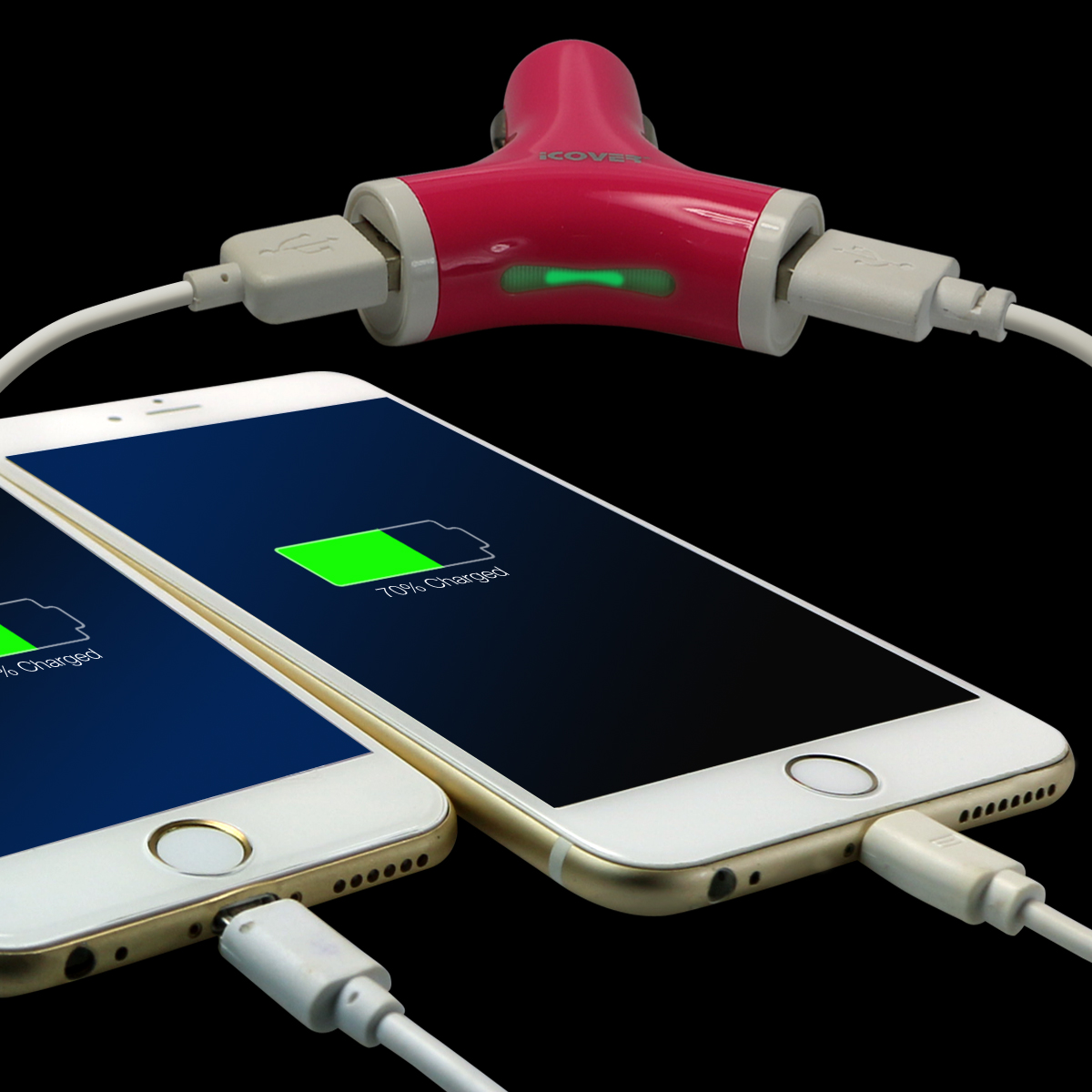 2-Pack  iCover Dual  Y  USB 2.1A Rapid Car Charger