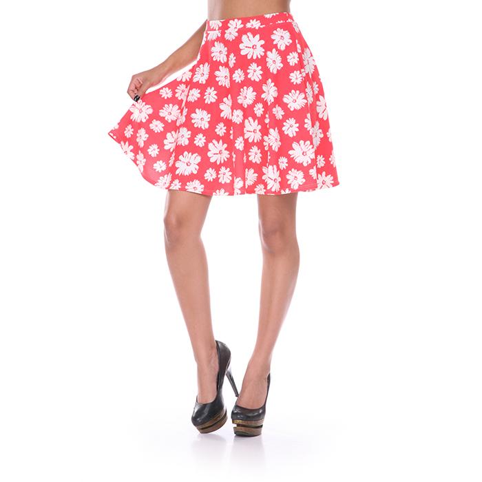 Coral  amp  White Flower Print Skater Skirt