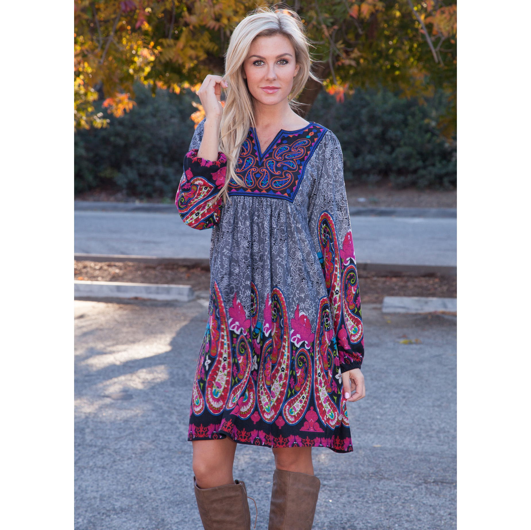Apolline Embroidered Boho Tunic Dress