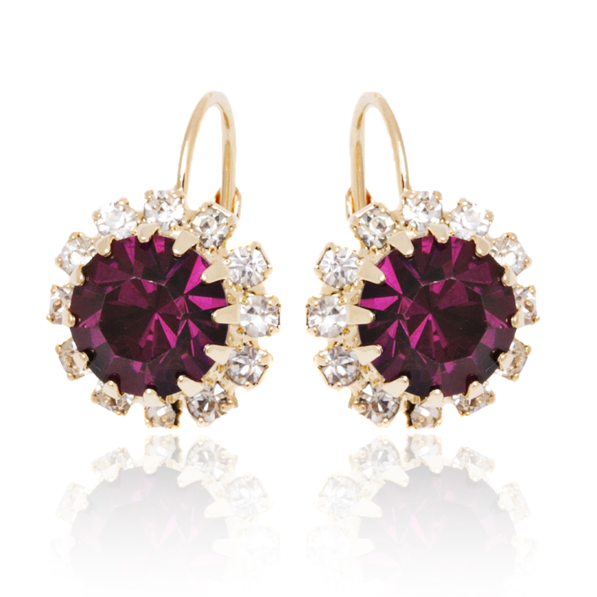 Gold Plated Colored Crystal Flower Halo Earrings - 2 Colors