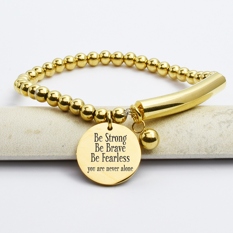 Stainless Steel Be Strong Be Brave Bead And Bar Bracelet