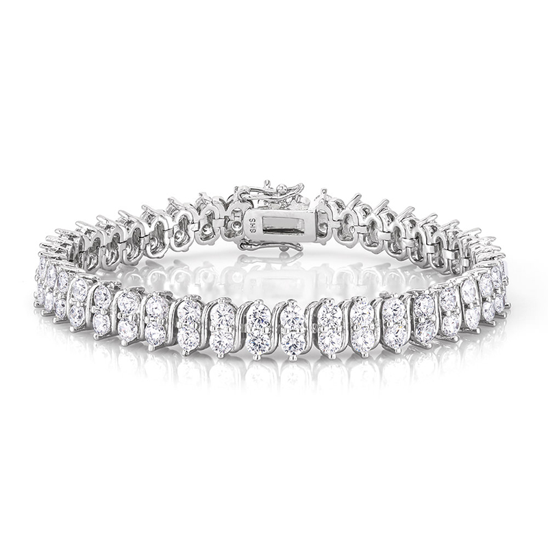18kt White Gold Plated Classic Tennis Bracelet