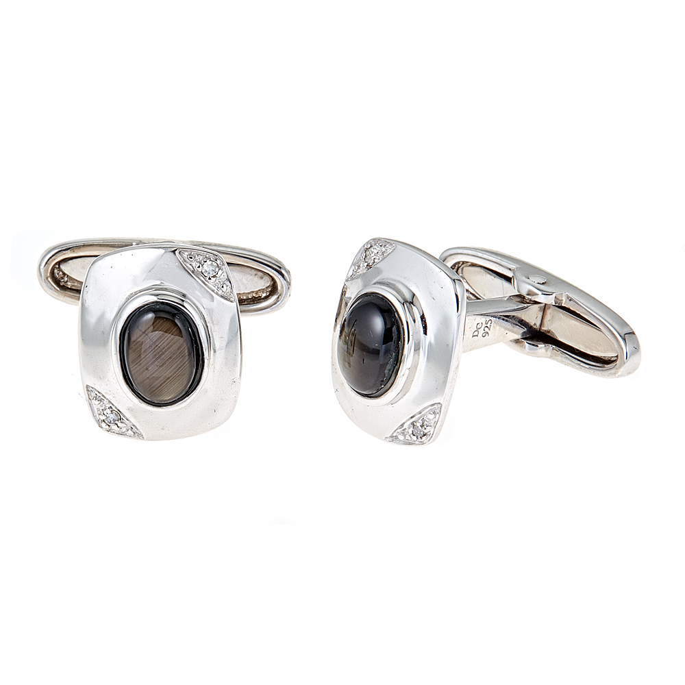 Sapphire and Diamond Sterling Silver Cufflinks 5429724