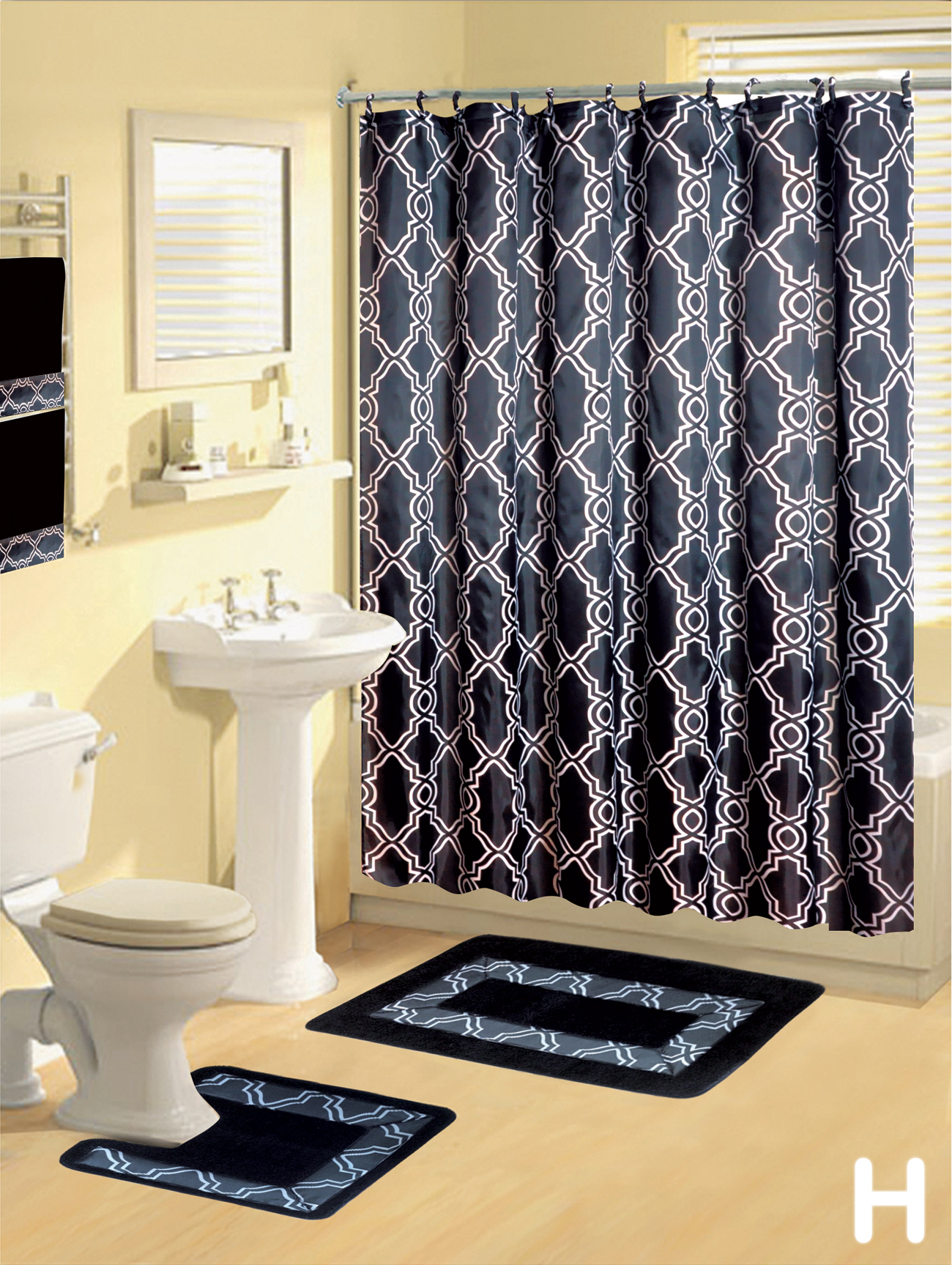 Shower Curtains 17 Pcs Set Modern Bath Mat Contour Rug