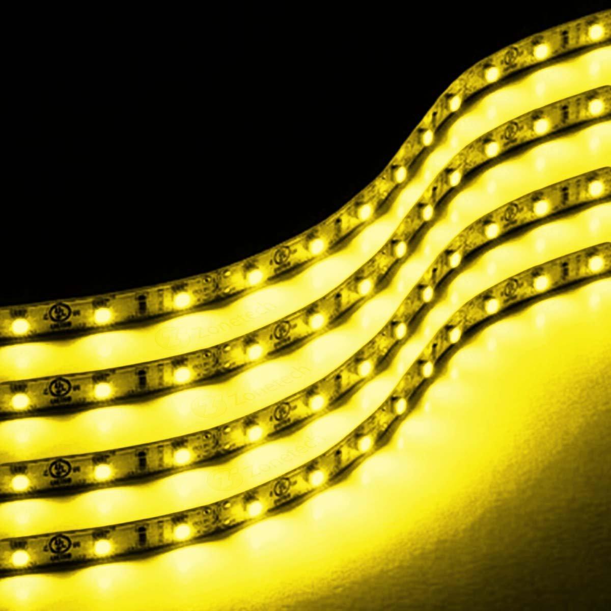 Zone Tech 4x Yellow Amber 30cm 15 LED Car Flexible Waterproof LED Stri