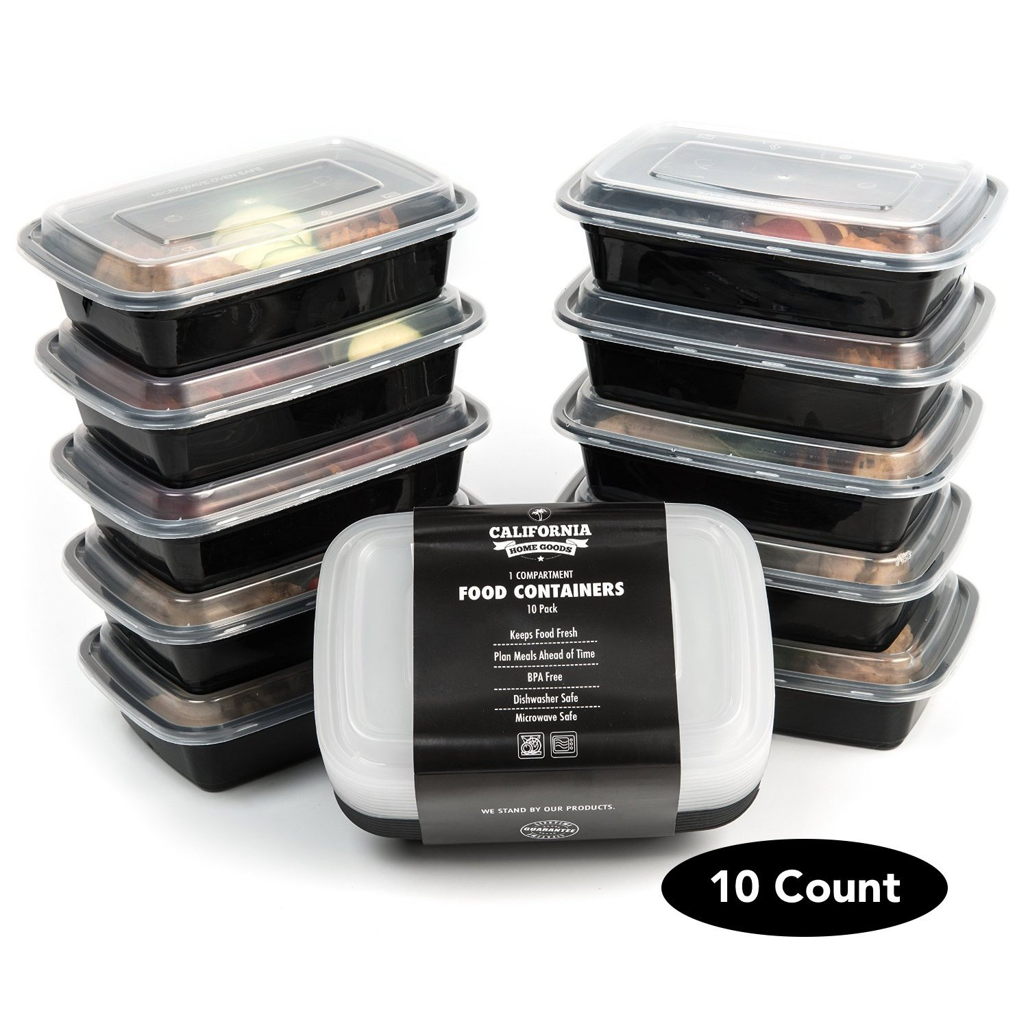 10 Meal Prep Food Storage Containers 3 Compartment Reusable Bento