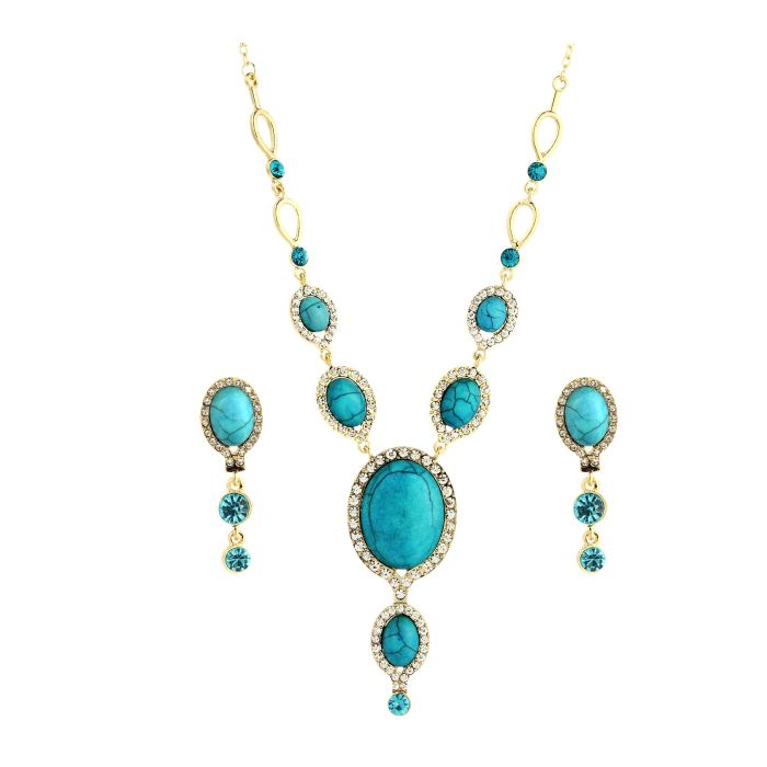 egyptian blue nile turquoise necklace set tanga