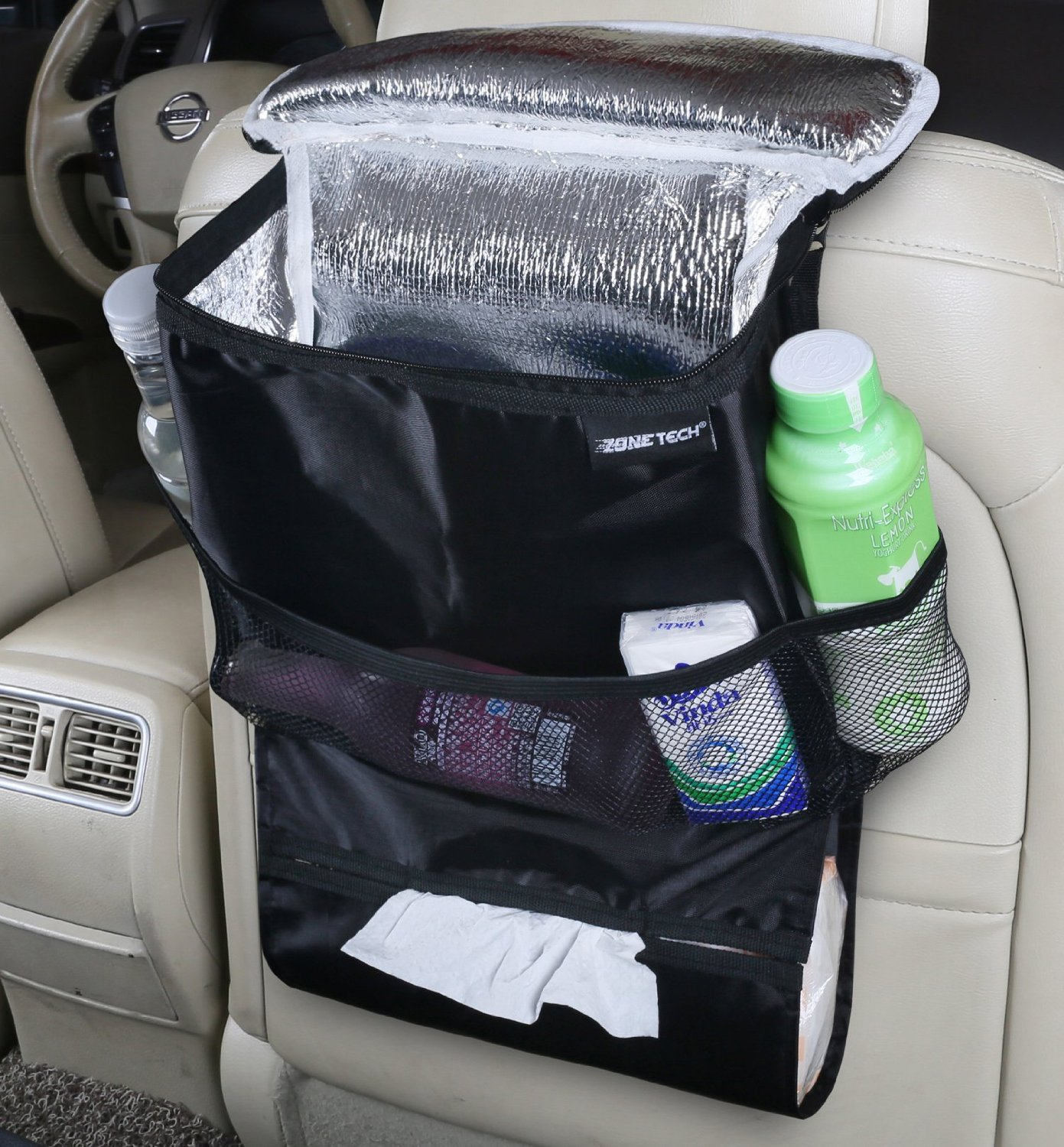 Zone Tech Travel Back Seat Organizer Insulated Food Drink Thermos Cool