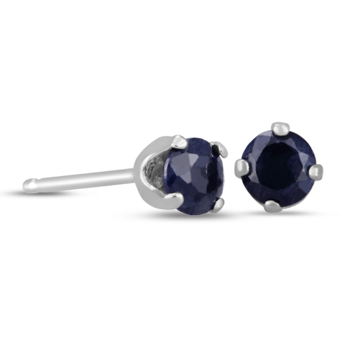 Sterling Silver 1 2ct Natural Blue Sapphire Stud Earrings