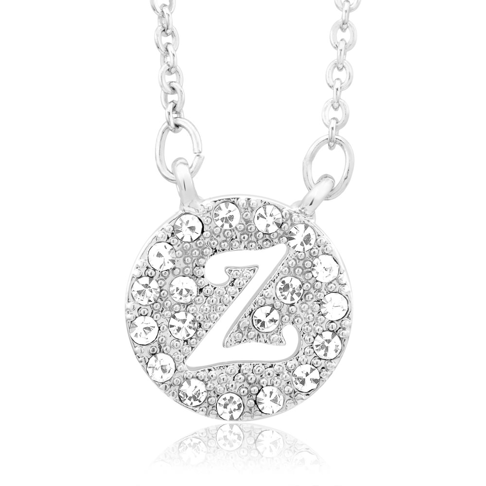18kt White Gold Plated Swarovski Elements Initial Necklace - Z
