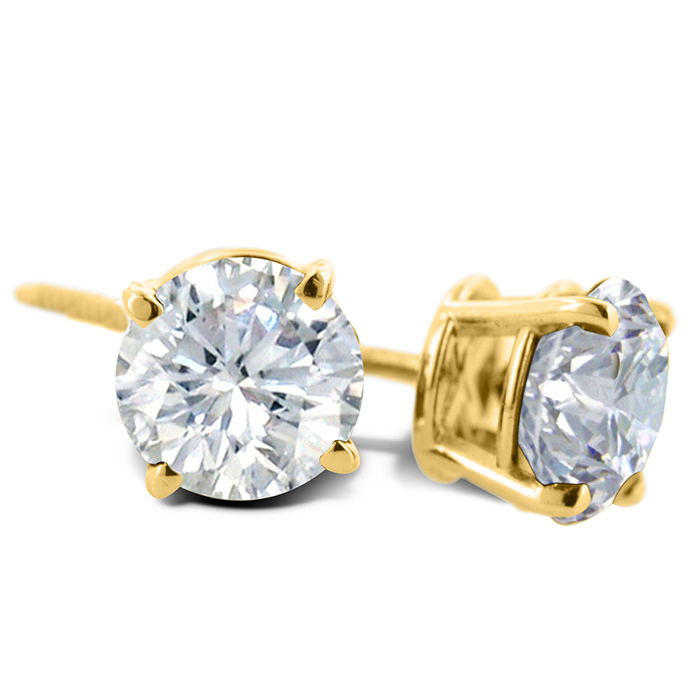 3 4ct Diamond Stud Earrings In 14 Karat Yellow Gold