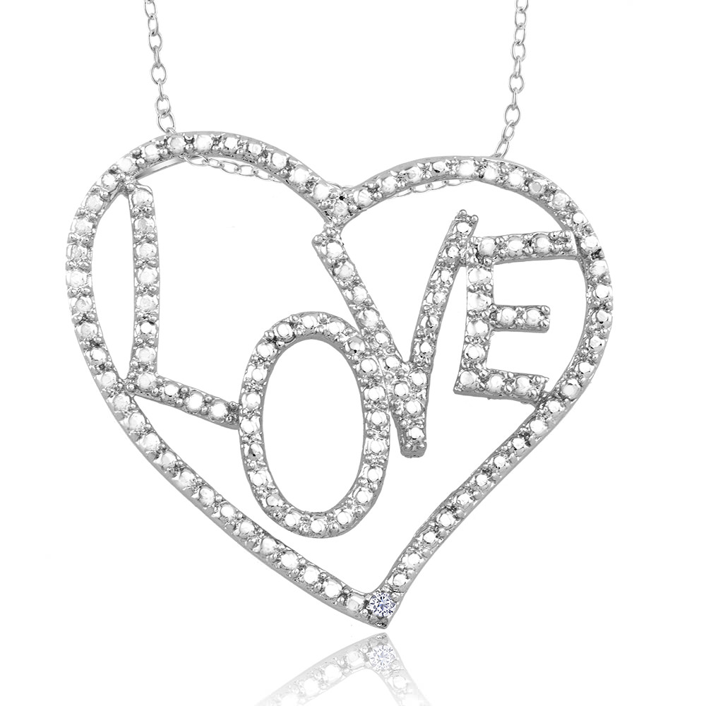 1 10 CTW Diamond Accent Necklace - Large Love