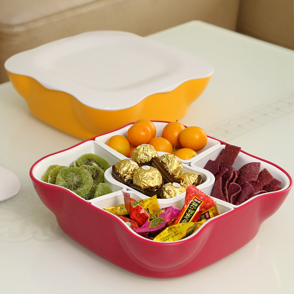 Snack Serving Tray With Lid And Removable Compartments