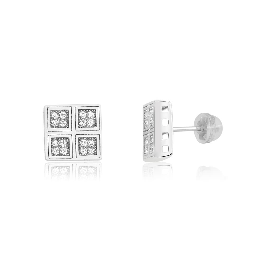 Sterling Silver Grid Micro-Pave Diamond Stud Earrings
