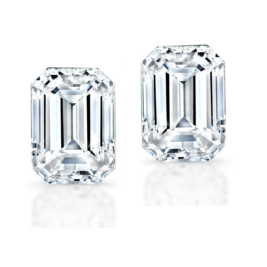 Sterling Silver Emerald Cut Stud Earrings
