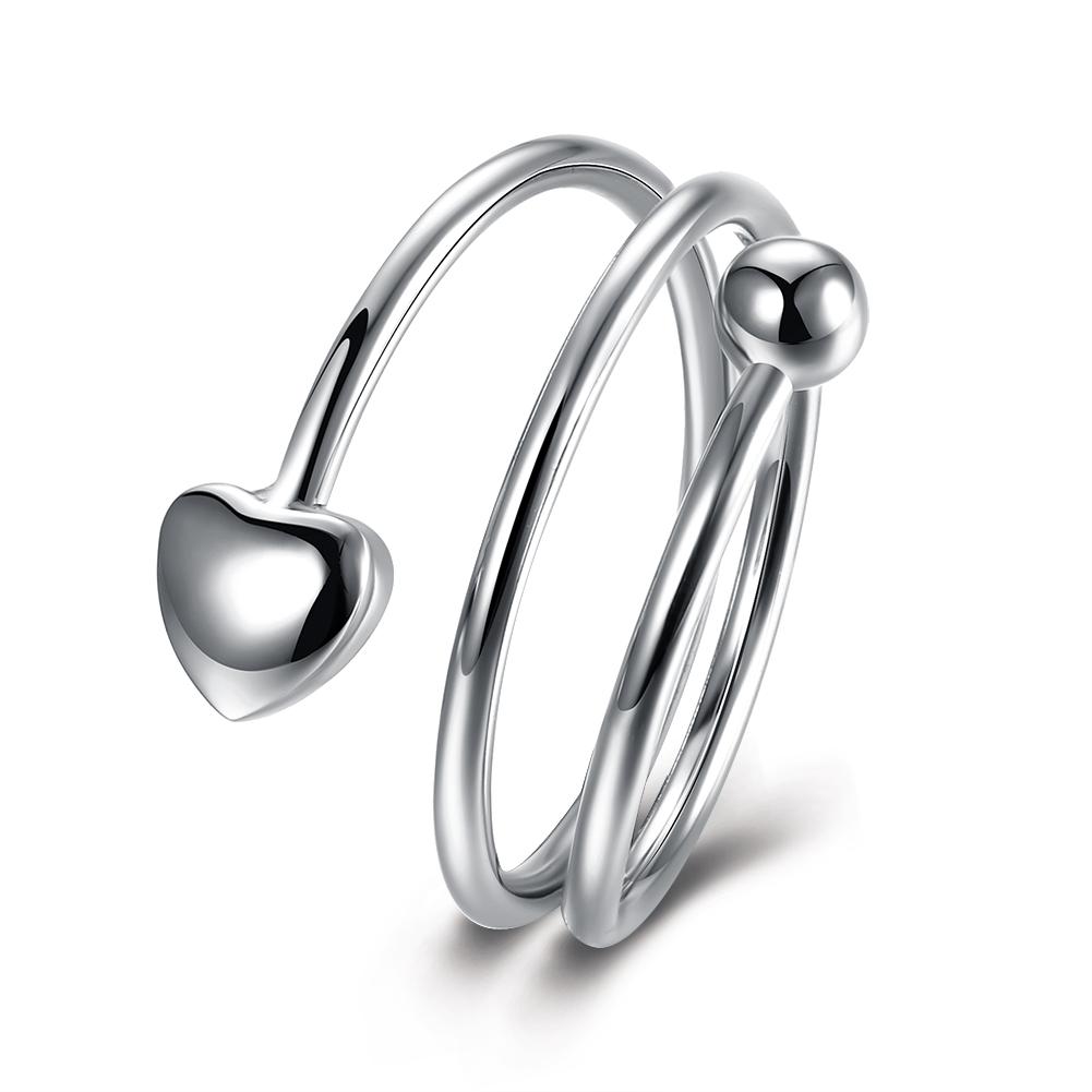 White Gold Plated Classic Sleek Heart Swirl Ring