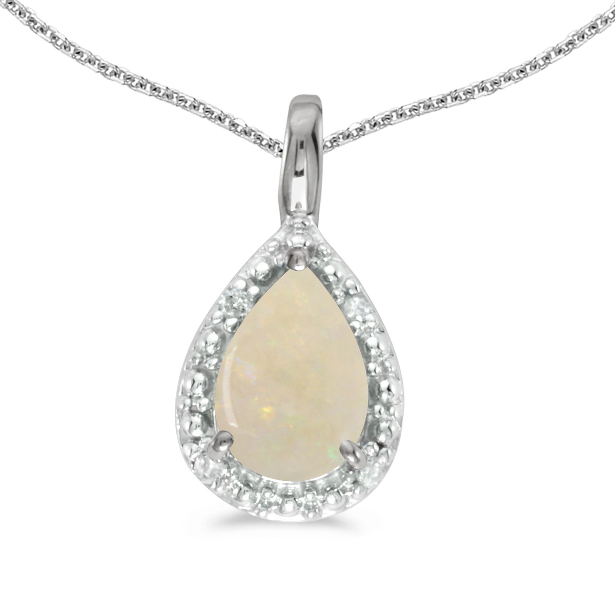 14k White Gold Pear Opal Pendant with 18  Chain