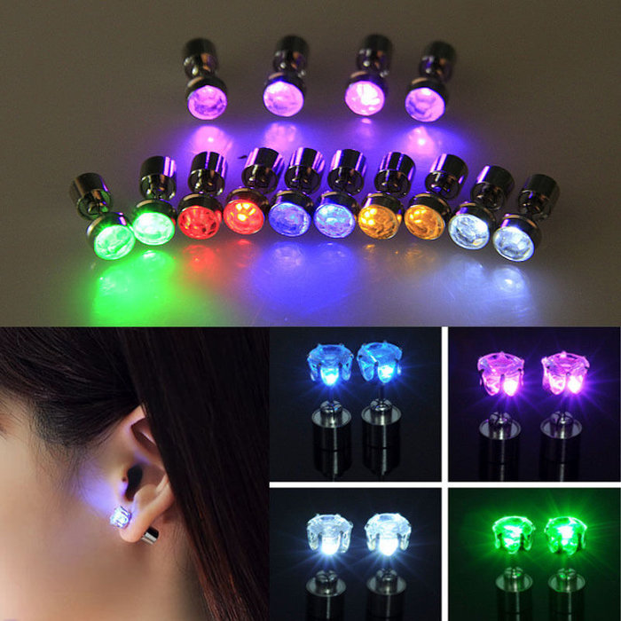 3-Pack  LED Light Up Stud Earrings - Assorted Colors