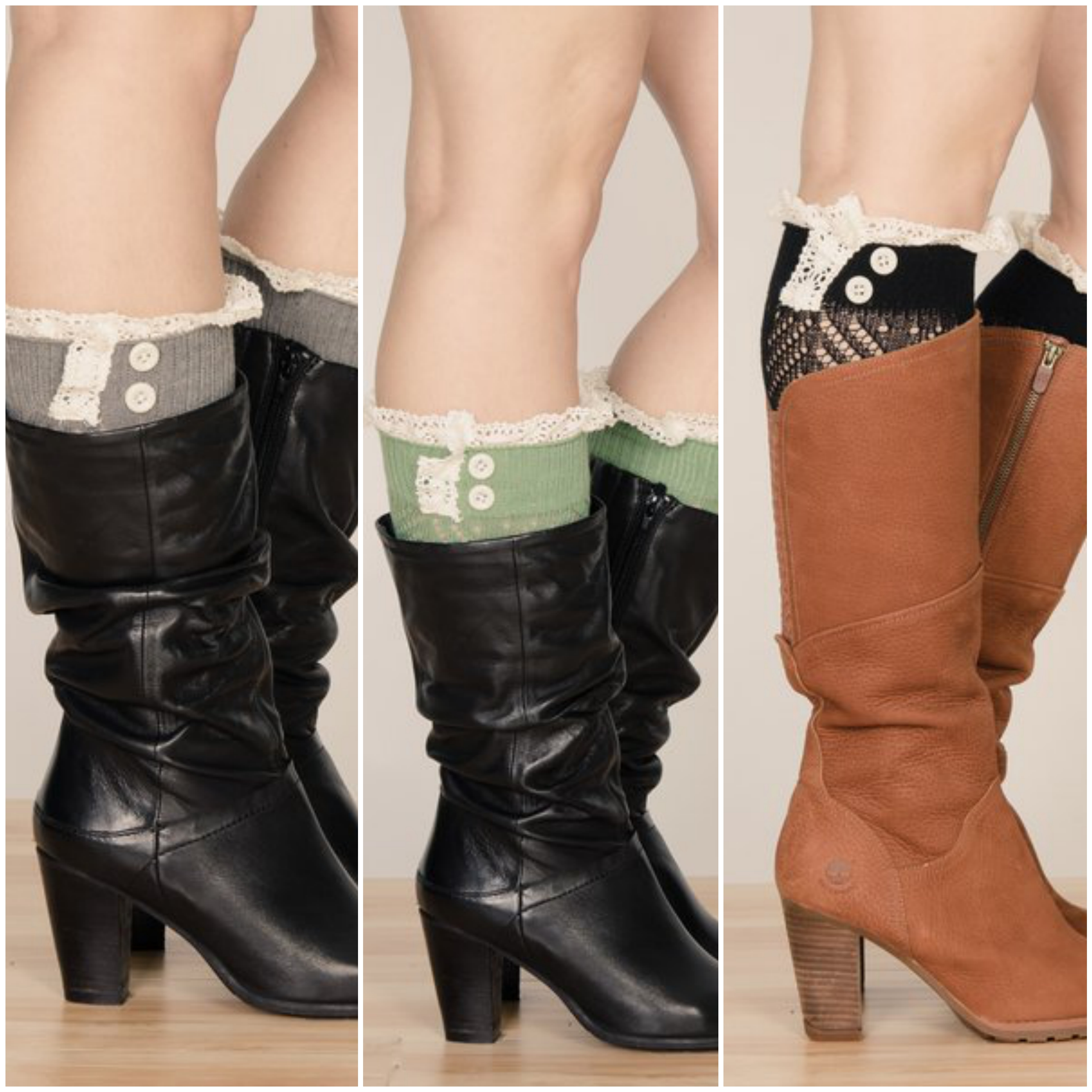 Crochet Boot Cuff with Lace  amp  Buttons - 4 Colors 210858