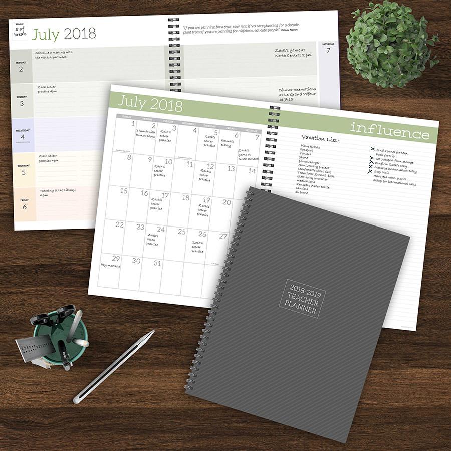 July 2018 - June 2019 Academic 12 Month Teacher Planner   Lesson Plan