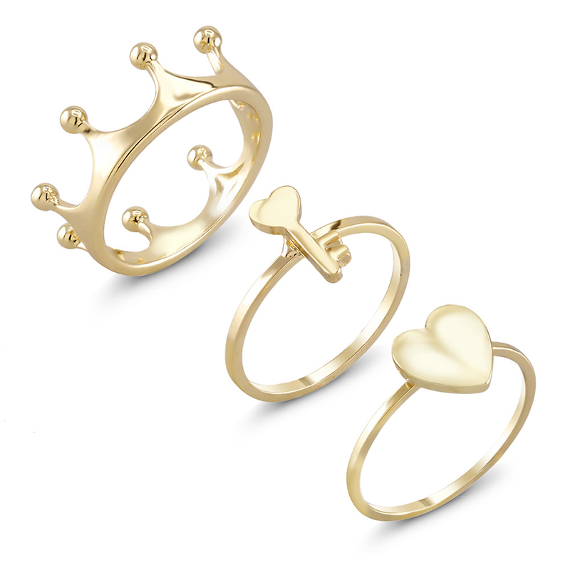 3-Pack Yellow Gold Plated Stackable Rings