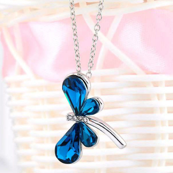 Blue  amp  White Cubic Zirconia Dragon Fly Necklace
