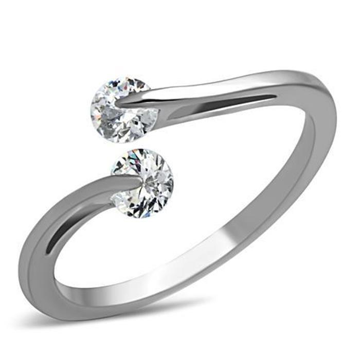 Stainless Steel 0.85ct Cubic Zirconia Bypass Ring