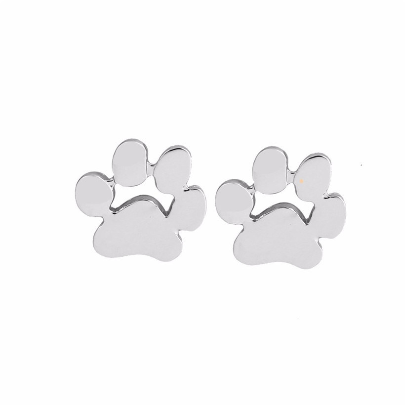 Gold Plated Dog Paw Studs