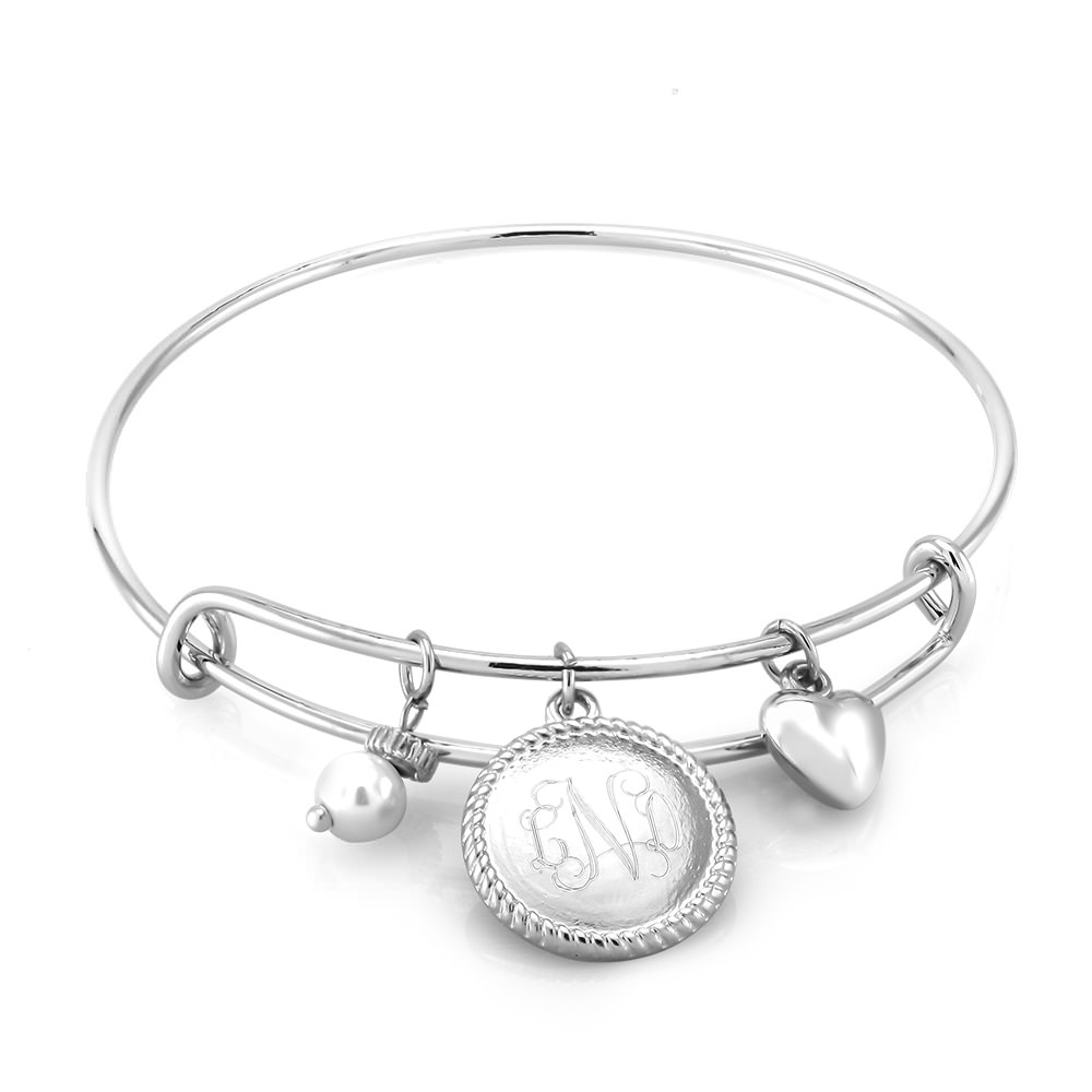 Personalized Round Disc Heart Charm Bracelet with Free Gift!