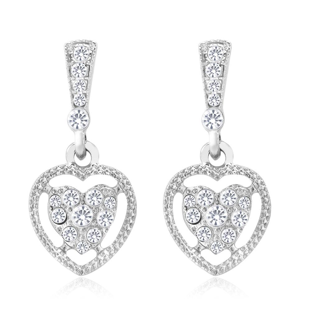 Crystal Heart Drop Earrings