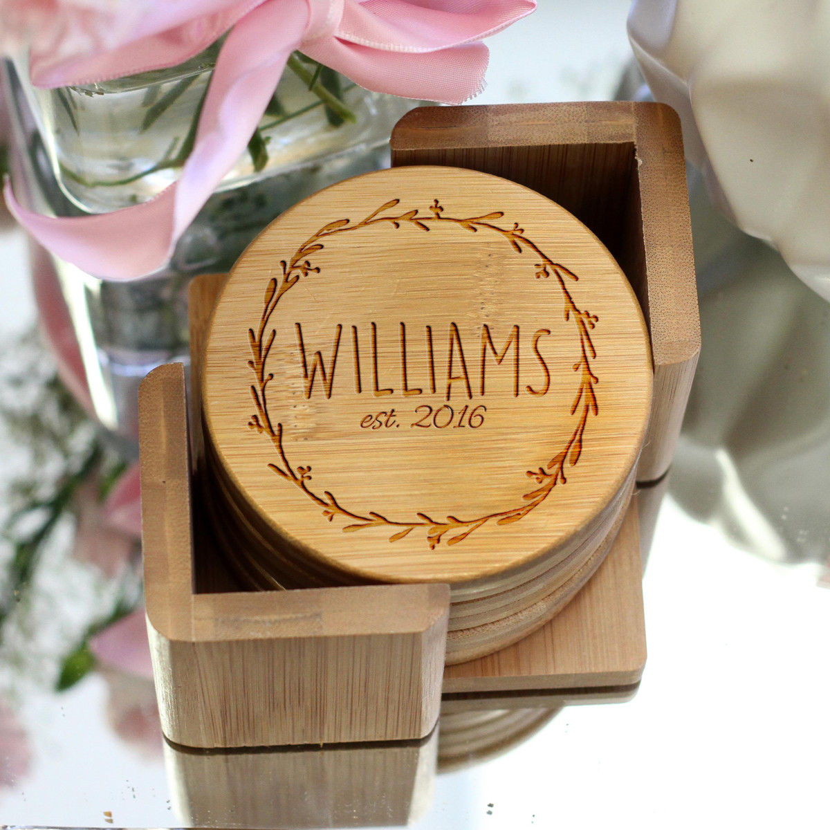 Williams Wreath Personalized Bamboo Coaster Set 54f9137c2dee