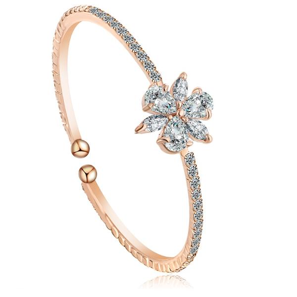Princess Sphere Cut Diamond Rose Gold Bangle