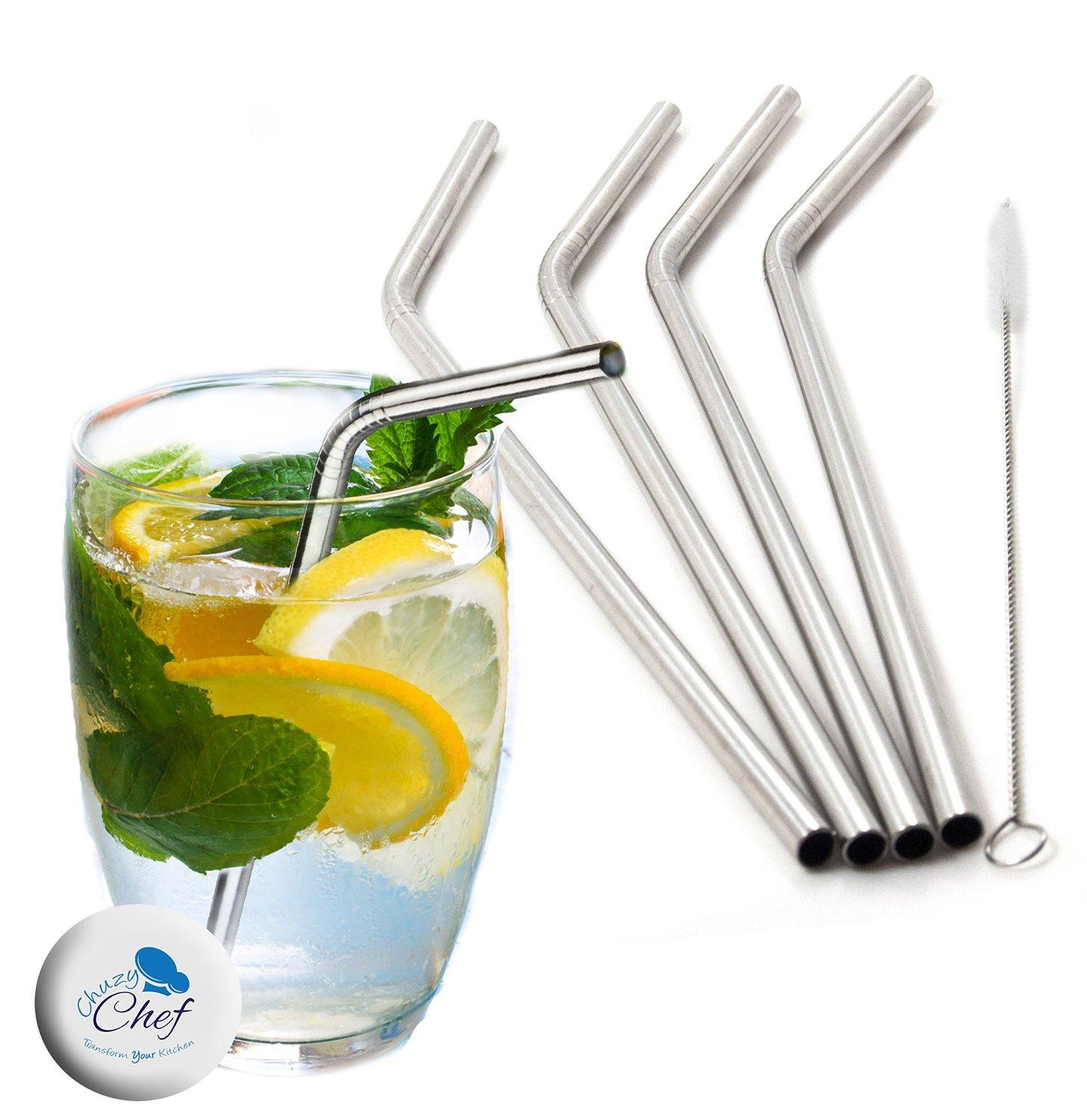 Chuzy Chef  Stainless Steel Straws Set Of 4 with Free Cleaning Brush 2861958