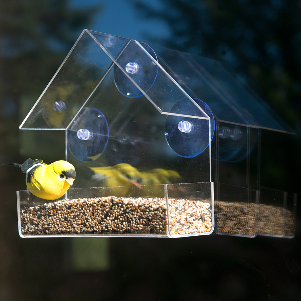 Evelots Clear Acrylic Window Bird Feeder w All Weather Suction Cups 48033