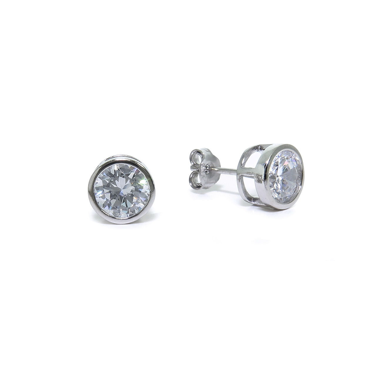 Sterling Silver Round CZ Bezel Stud Earrings  7mm 74f49b2dff34