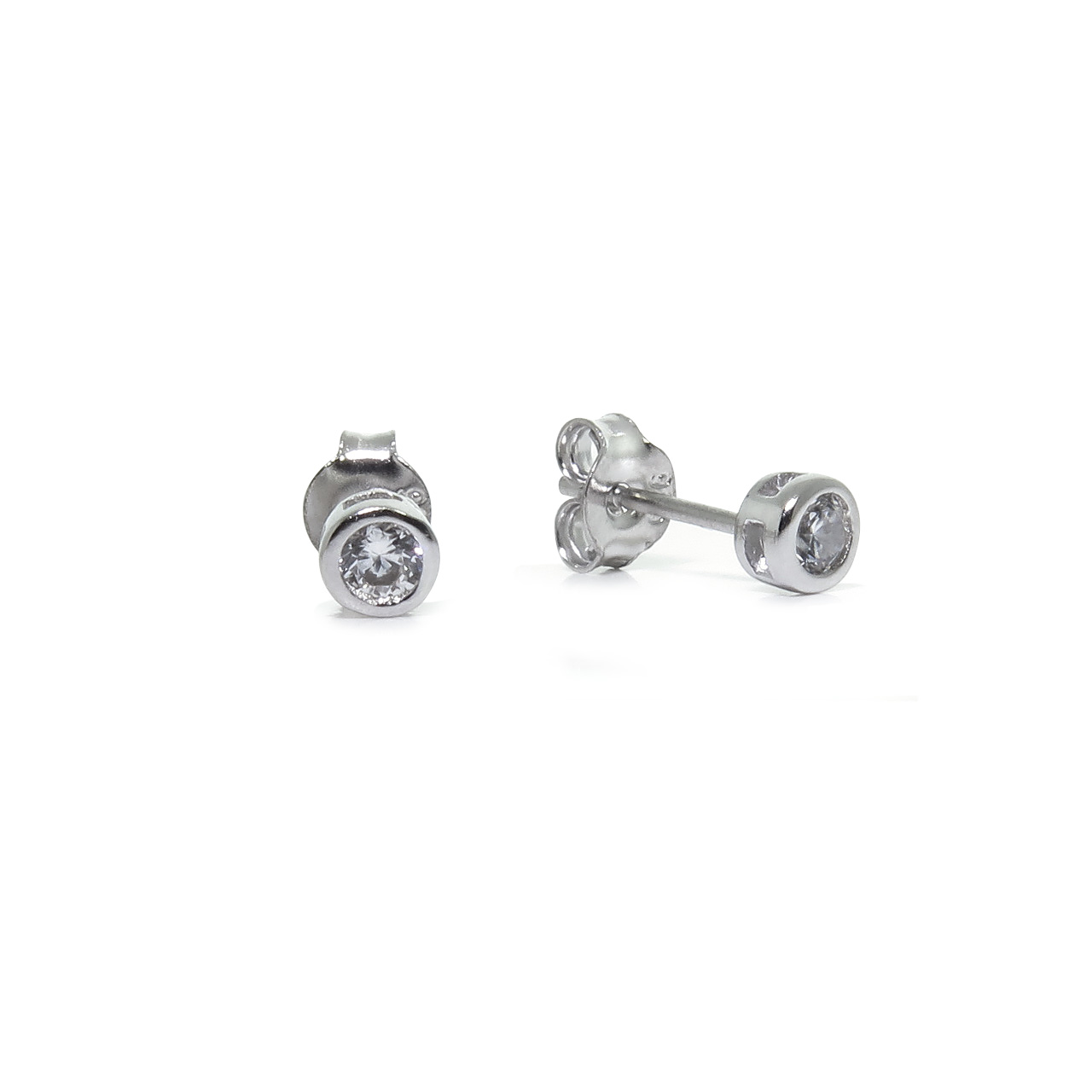 Sterling Silver Round CZ Bezel Stud Earrings  3mm e9746d364712