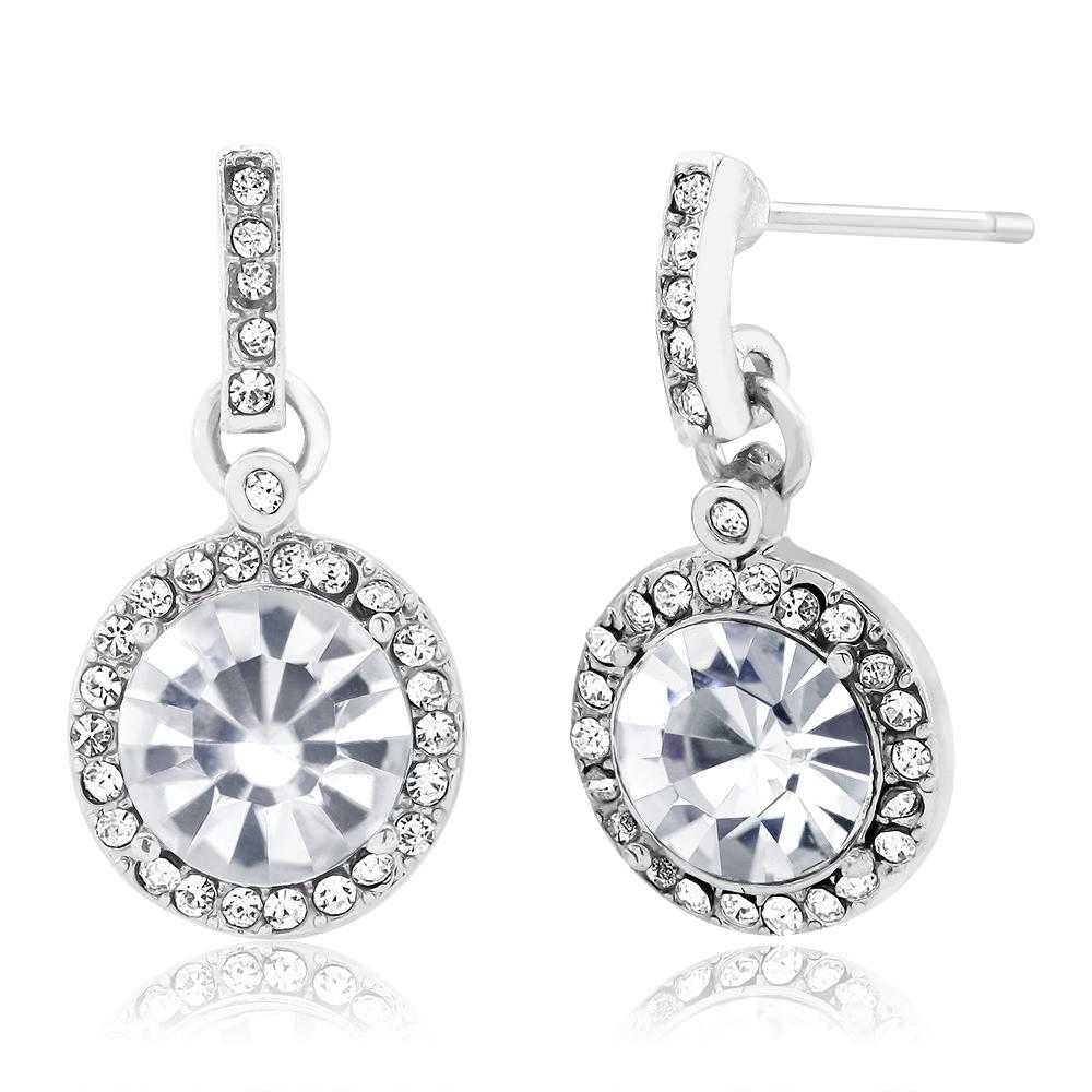 Round Crystal Halo Drop Earrings
