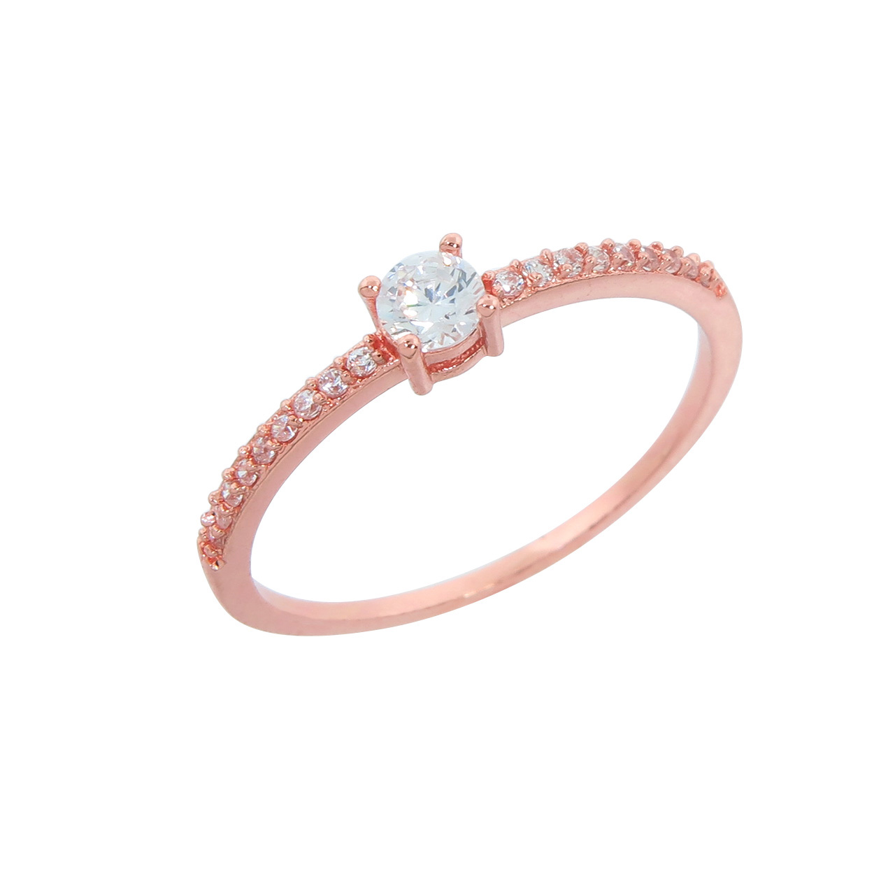 Rose Gold Plated Round Cut Anniversary Stack Ring