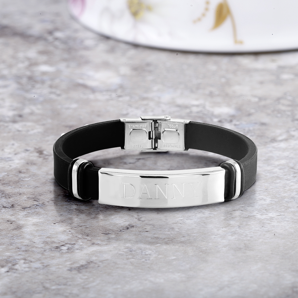 Personalized Bar Rubber Men s Bracelet