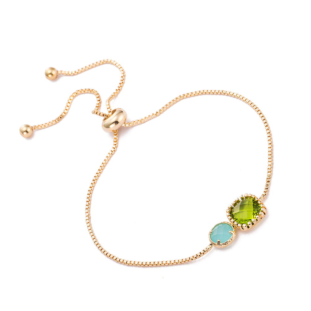Gold Plated Duo Turquoise  amp  Emerald Gem Bracelet