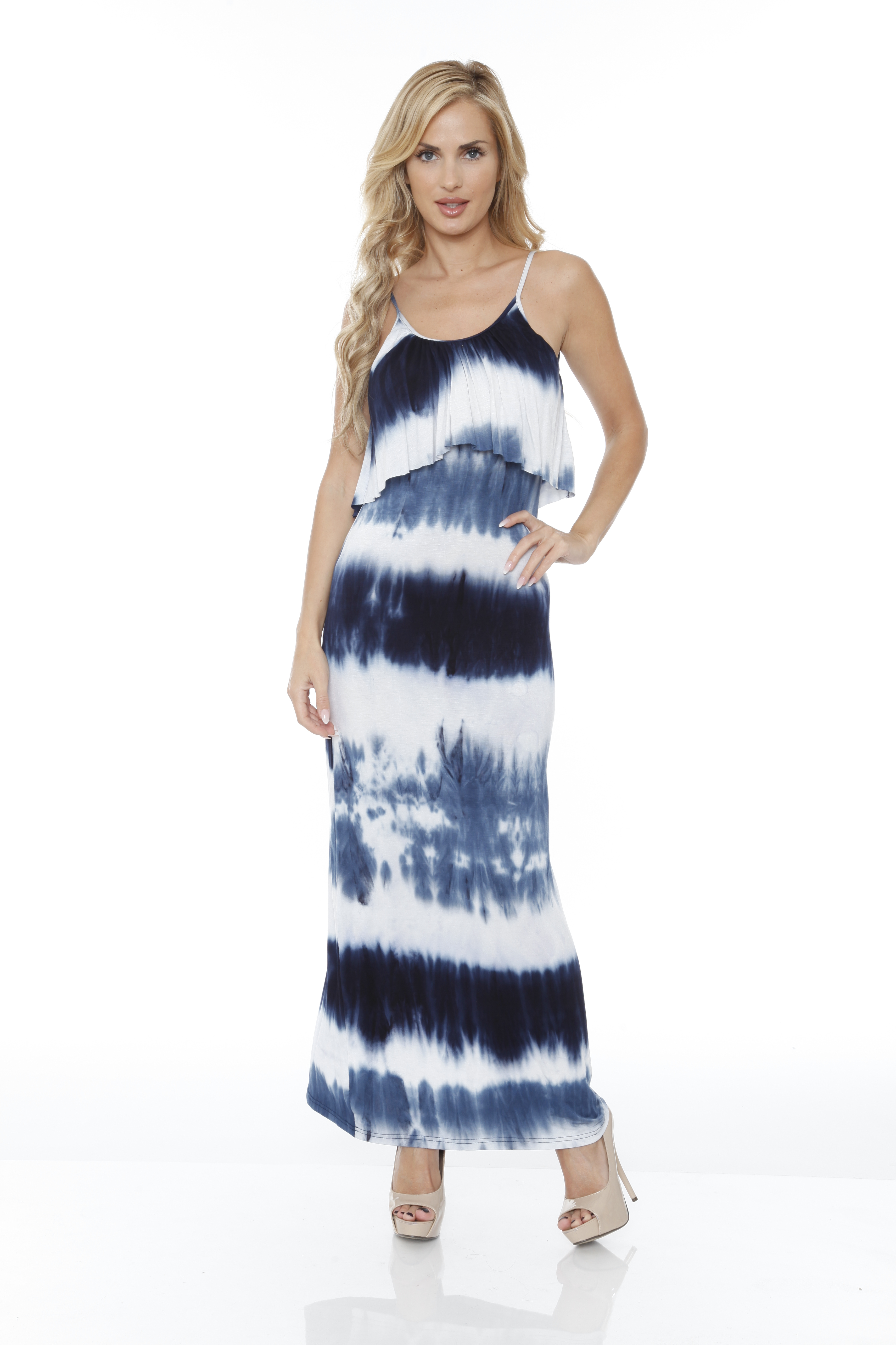 White Mark Women S Kalea Tie Dye Overlay Maxi Bellechic