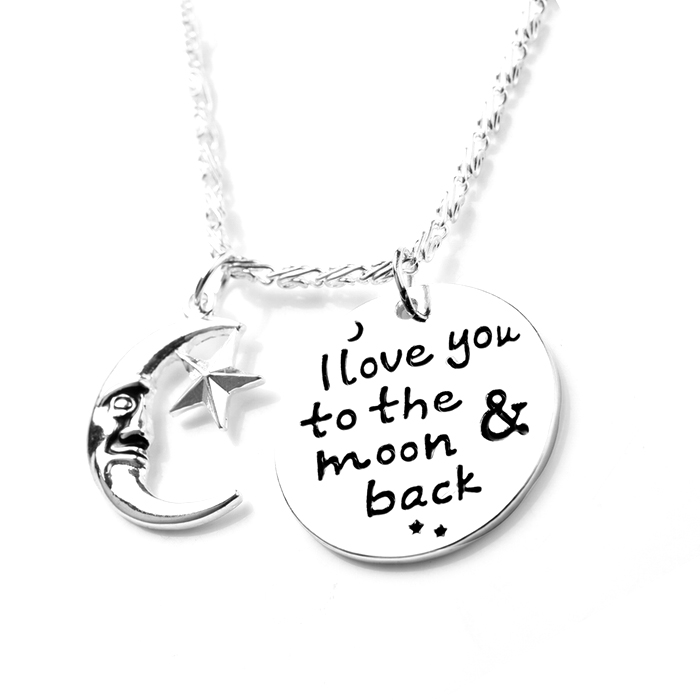 I Love You To Moon  amp  Back Angel Necklace