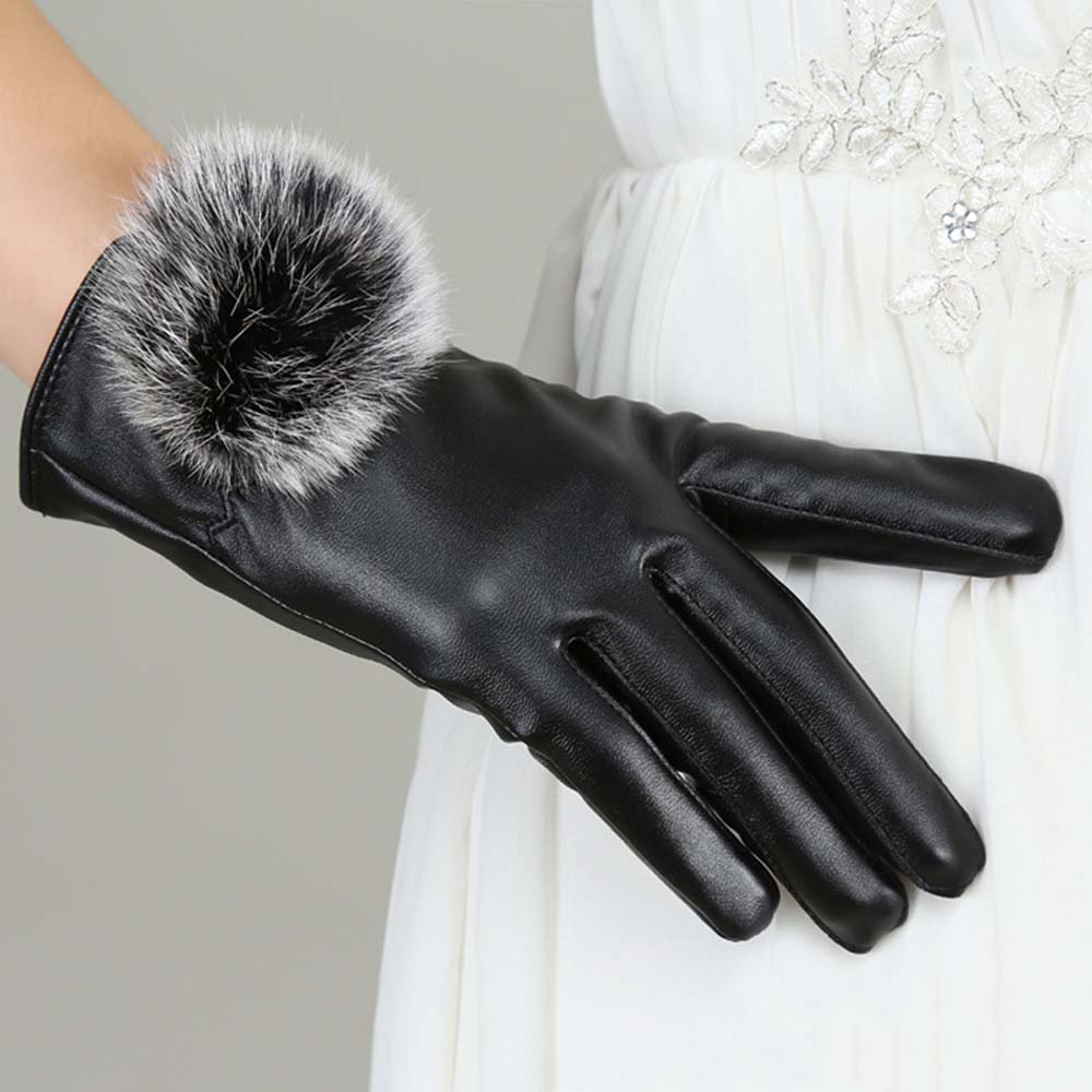 iPM Women s Touchscreen Leather Winter Gloves with Faux Fur Pom-Pom 26d122c91a88